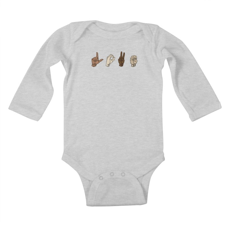 Love Sign Kids Baby Longsleeve Bodysuit by Puttyhead's Artist Shop