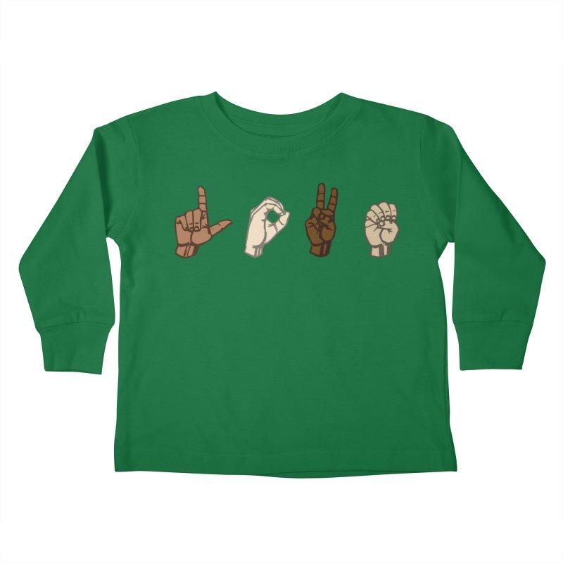 Love Sign Kids Toddler Longsleeve T-Shirt by Puttyhead's Artist Shop