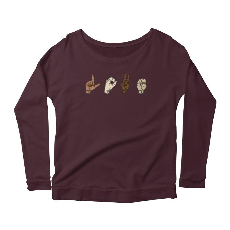 Love Sign Women's Scoop Neck Longsleeve T-Shirt by Puttyhead's Artist Shop