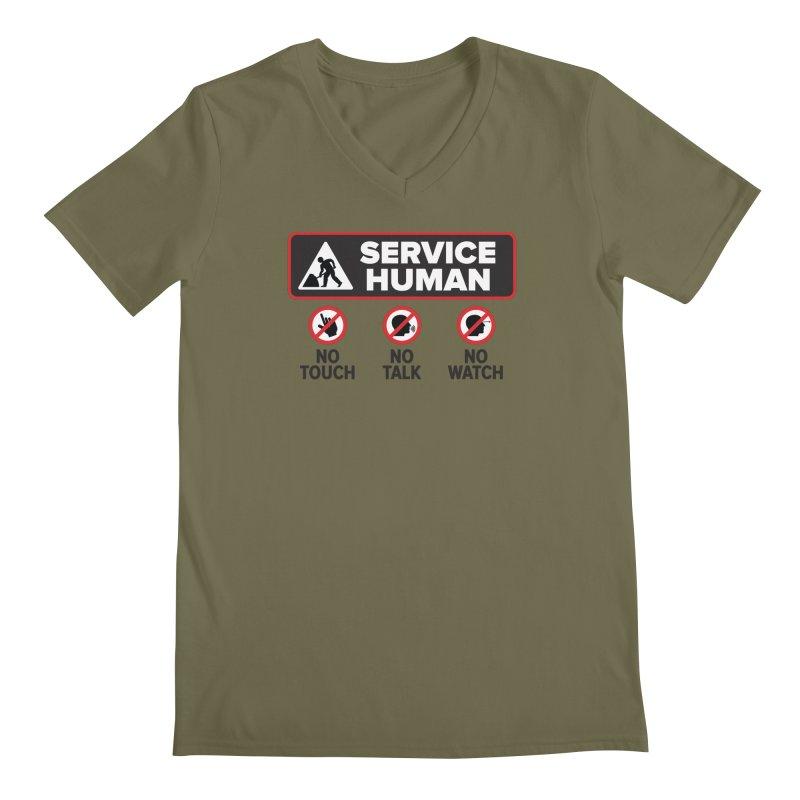 Service Human Men's Regular V-Neck by Puttyhead's Artist Shop