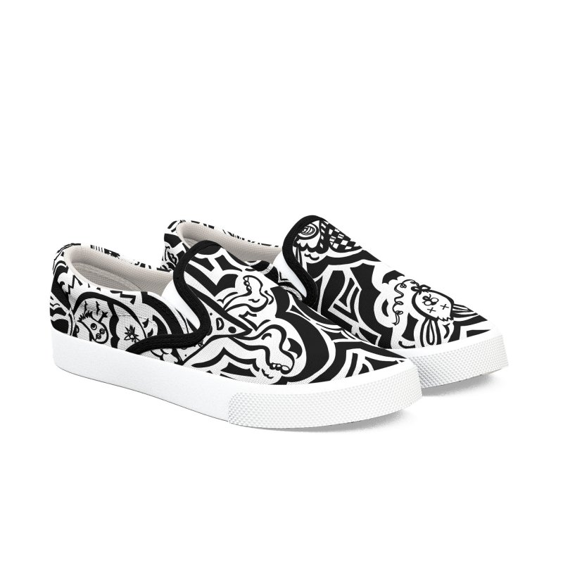 All Over - Black & White Print in Men's Slip-On Shoes by The Qaqtis Online Shop