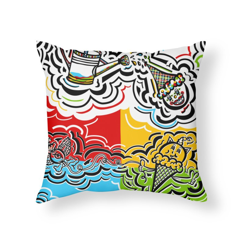 Watering Can Clown / Ice Cream Cat Bomb in Throw Pillow by The Qaqtis Online Shop