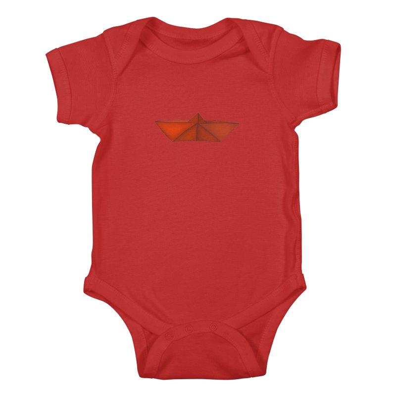 Orange Paper Boat Kids Baby Bodysuit by RAIDORETTE's Shop