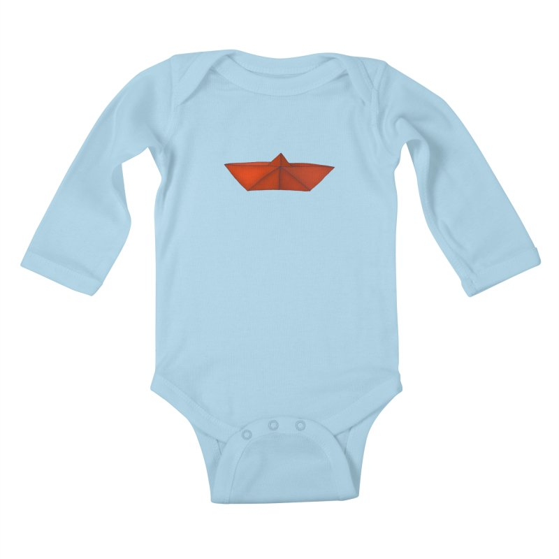 Orange Paper Boat Kids Baby Longsleeve Bodysuit by RAIDORETTE's Shop