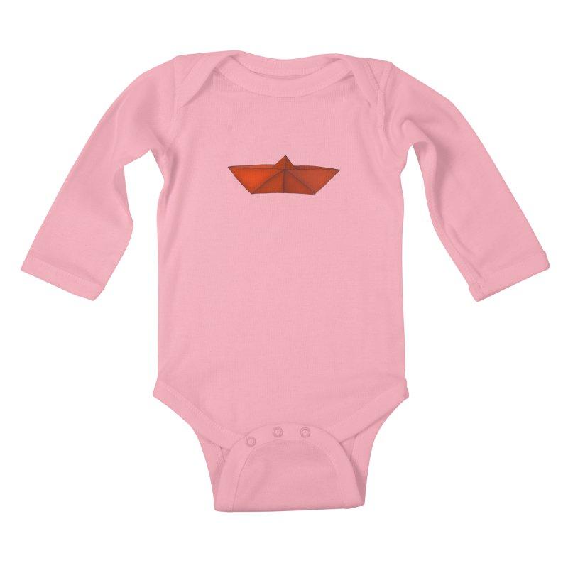 Orange Paper Boat Kids Baby Longsleeve Bodysuit by RAIDORETTE's Shop