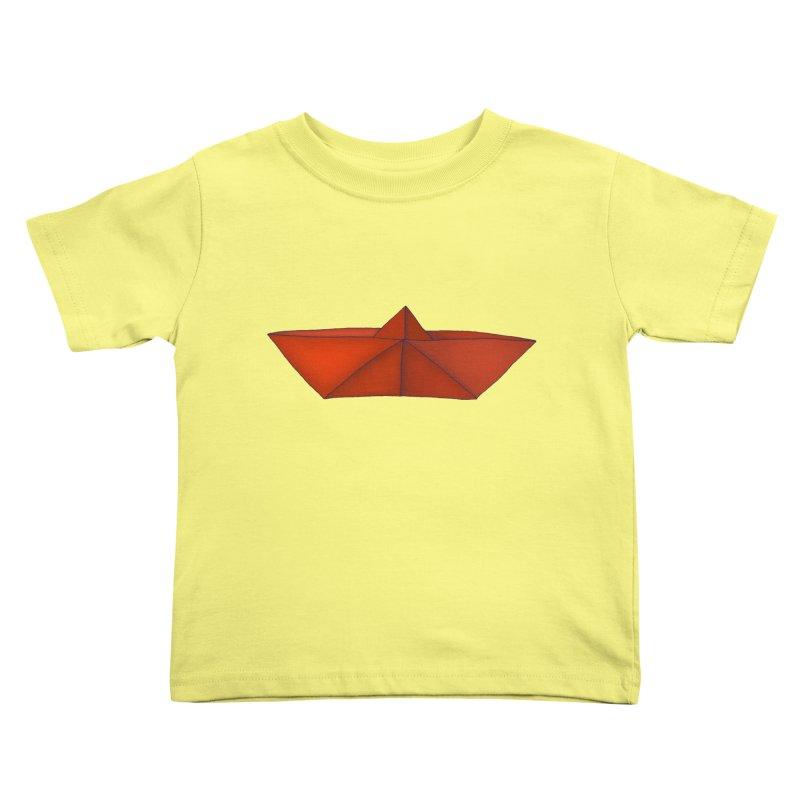Orange Paper Boat Kids Toddler T-Shirt by RAIDORETTE's Shop