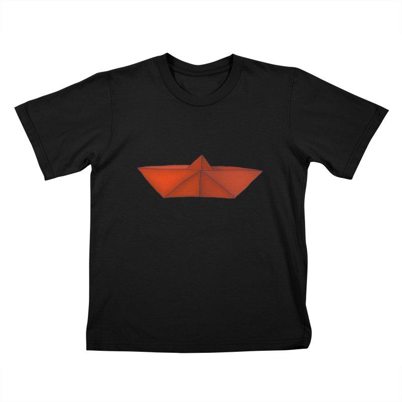 Orange Paper Boat Kids T-Shirt by RAIDORETTE's Shop