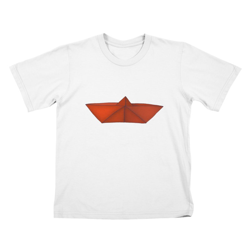 Orange Paper Boat Kids T-Shirt by RAIDORETTE's Shop