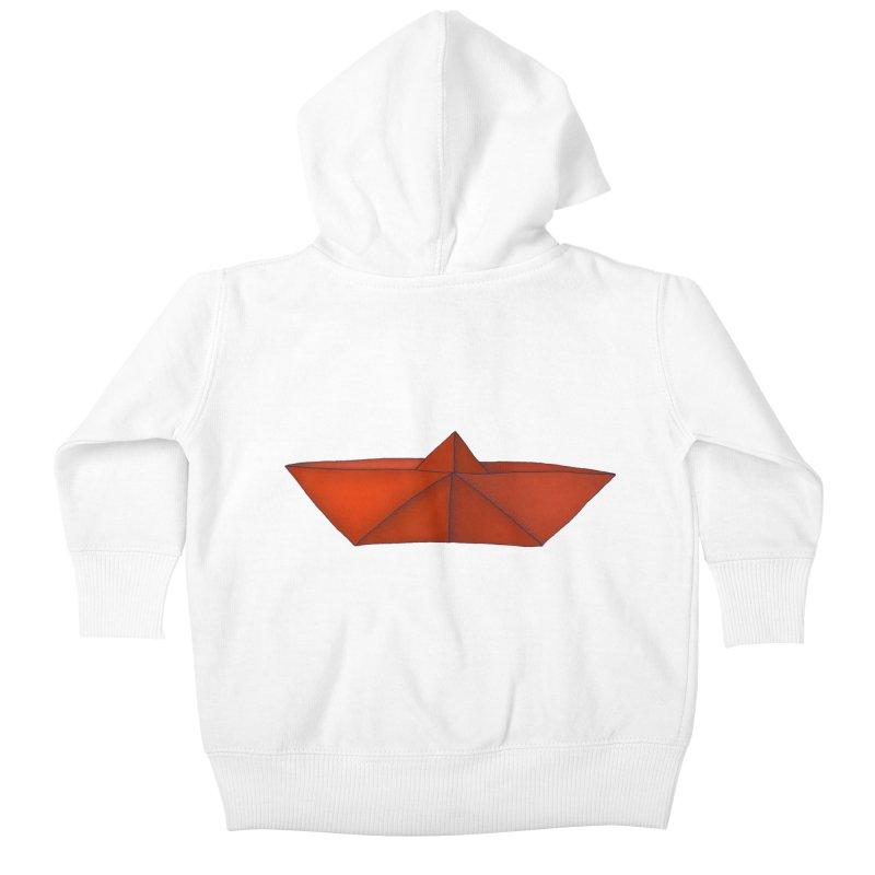 Orange Paper Boat Kids Baby Zip-Up Hoody by RAIDORETTE's Shop