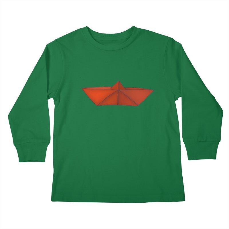 Orange Paper Boat Kids Longsleeve T-Shirt by RAIDORETTE's Shop