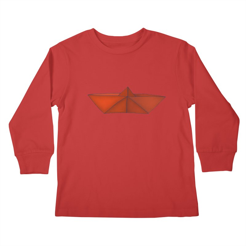 Orange Paper Boat Kids Longsleeve T-Shirt by RAIDORETTE's Shop