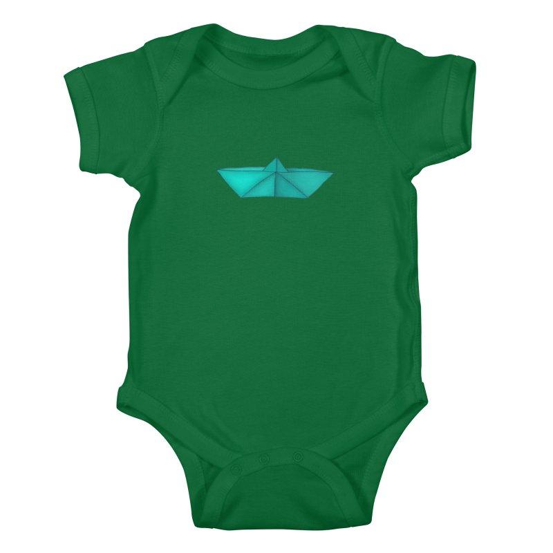 Turquoise Paper Boat Kids Baby Bodysuit by RAIDORETTE's Shop