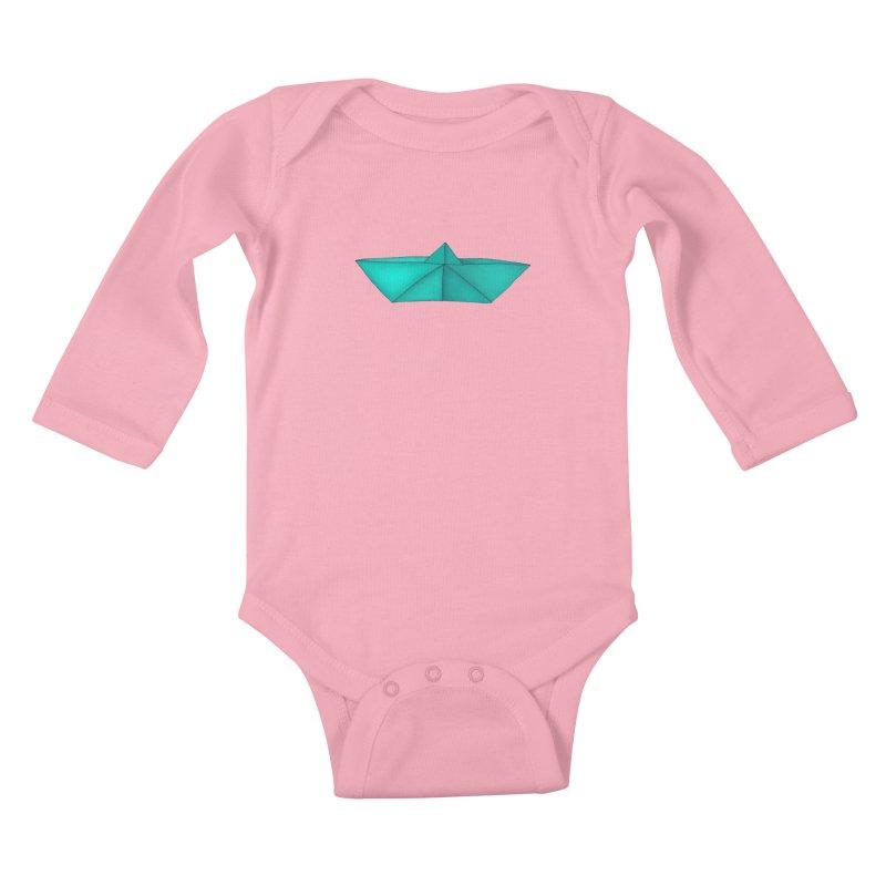 Turquoise Paper Boat Kids Baby Longsleeve Bodysuit by RAIDORETTE's Shop