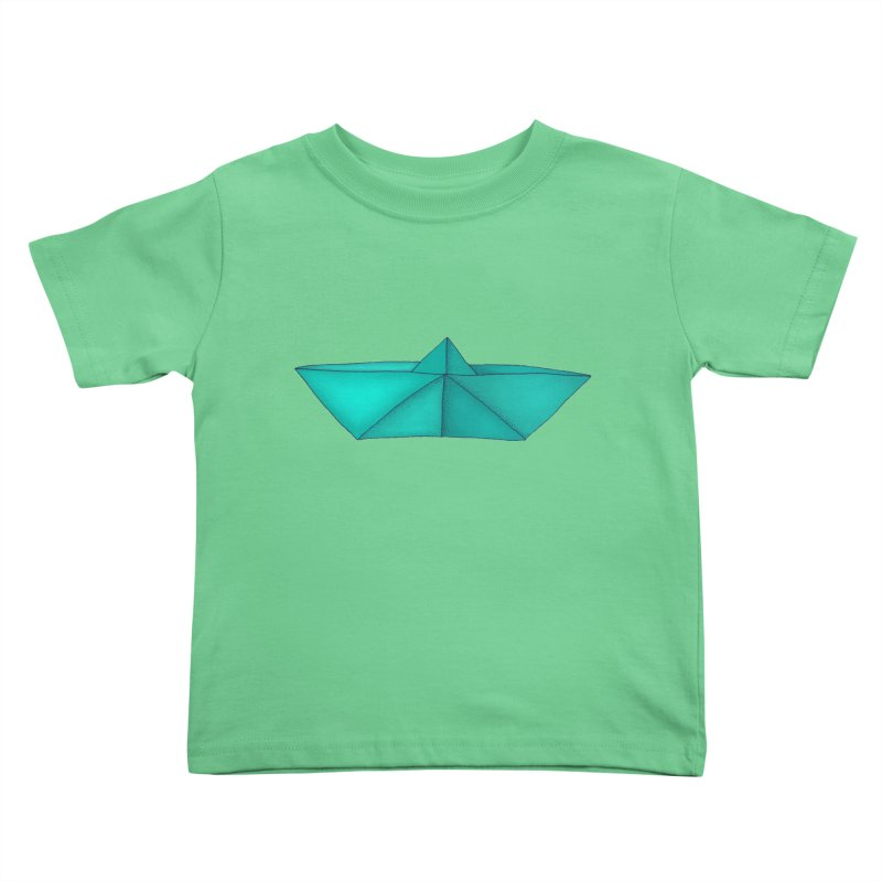 Turquoise Paper Boat Kids Toddler T-Shirt by RAIDORETTE's Shop