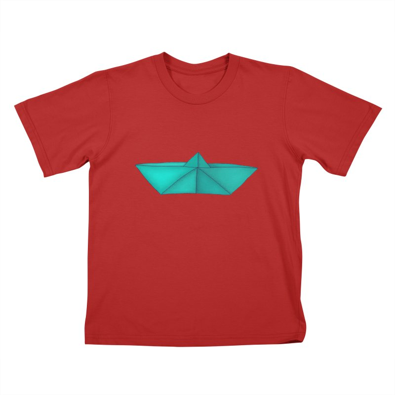 Turquoise Paper Boat Kids T-shirt by RAIDORETTE's Shop