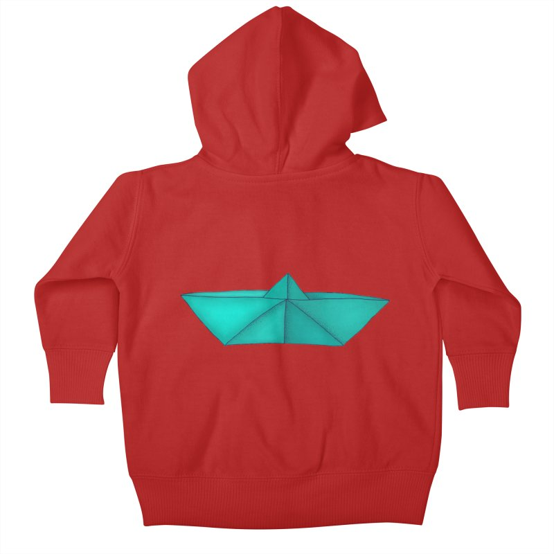 Turquoise Paper Boat Kids Baby Zip-Up Hoody by RAIDORETTE's Shop
