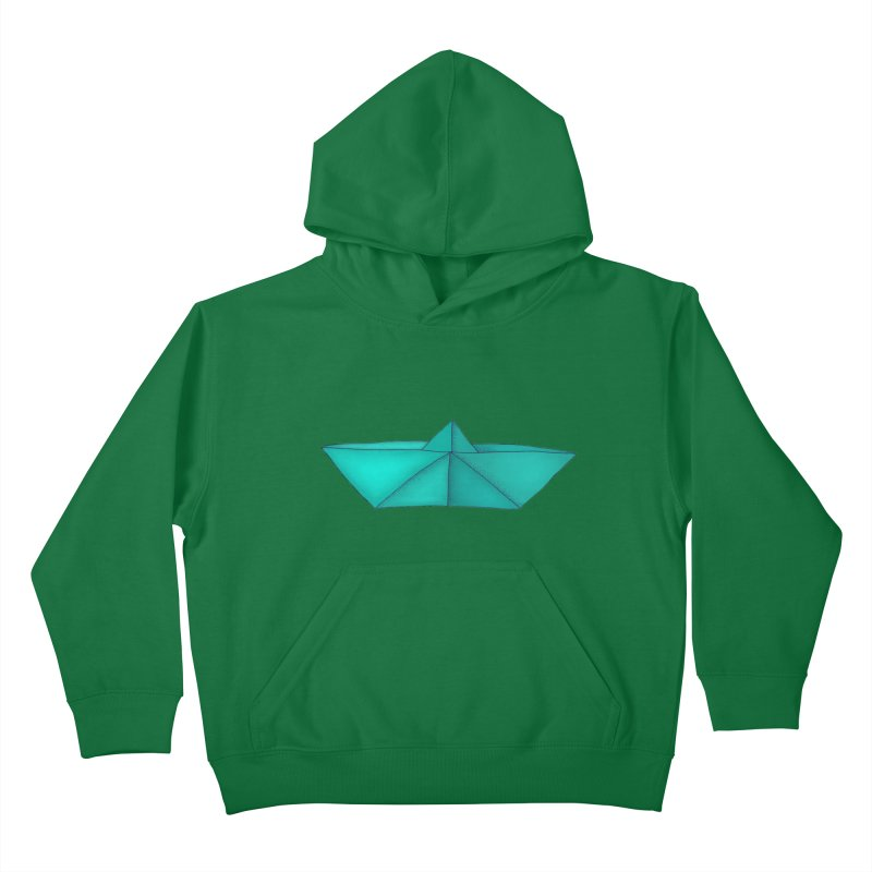 Turquoise Paper Boat Kids Pullover Hoody by RAIDORETTE's Shop