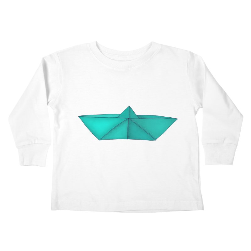 Turquoise Paper Boat Kids Toddler Longsleeve T-Shirt by RAIDORETTE's Shop