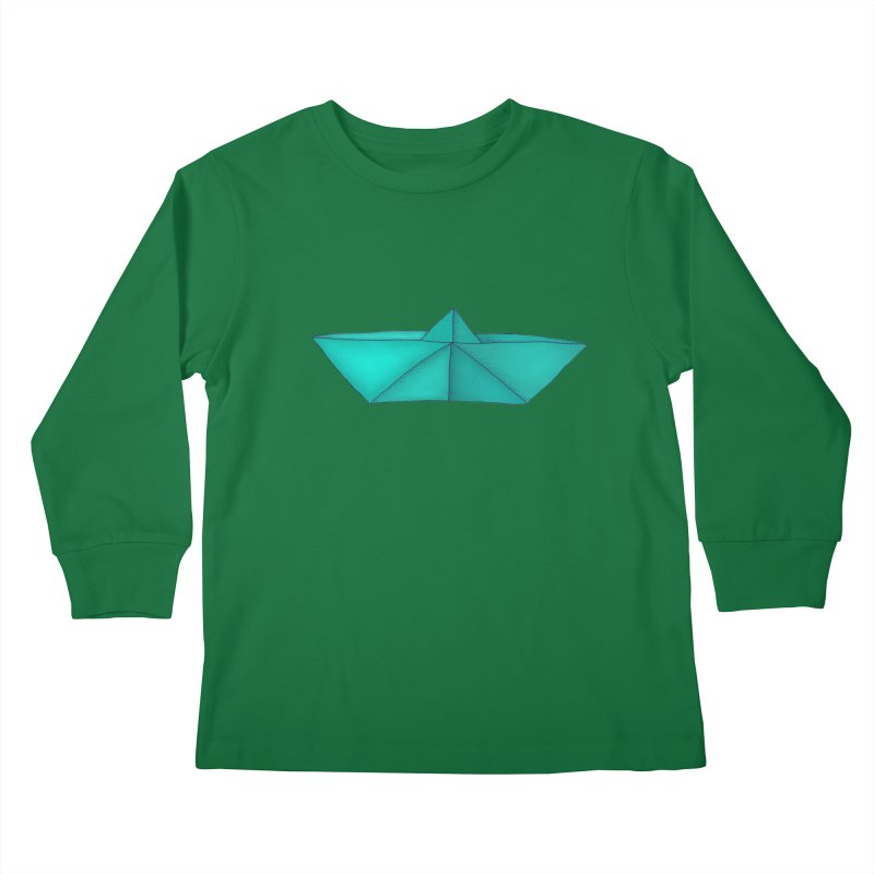 Turquoise Paper Boat Kids Longsleeve T-Shirt by RAIDORETTE's Shop