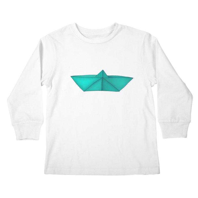 Turquoise Paper Boat Kids Longsleeve T-Shirt by RAIDORETTE's Shop