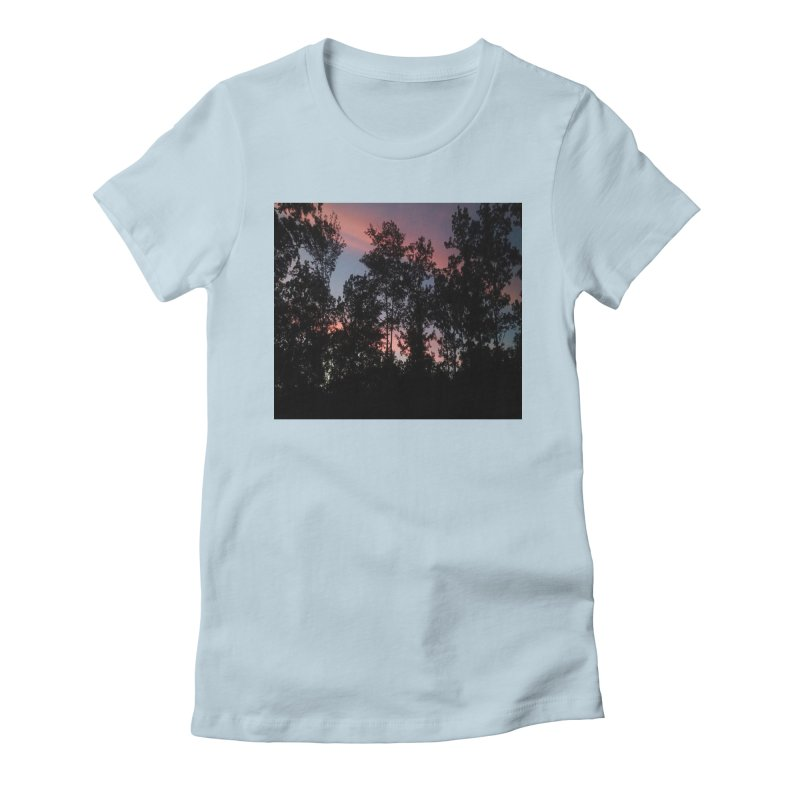 pink skies Women's Fitted T-Shirt by RLGarts's Artist Shop