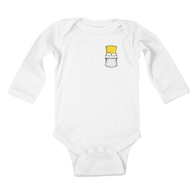 Bart Simpson in My Pocket Kids Baby Longsleeve Bodysuit by RLLBCK Clothing Co.