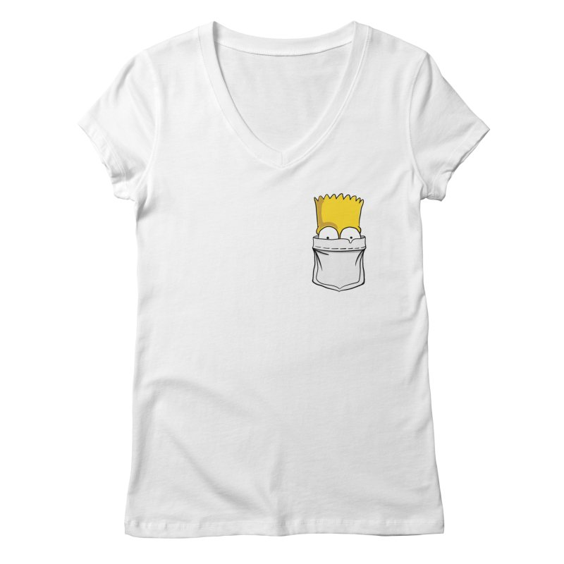 Bart Simpson in My Pocket Women's Regular V-Neck by RLLBCK Clothing Co.