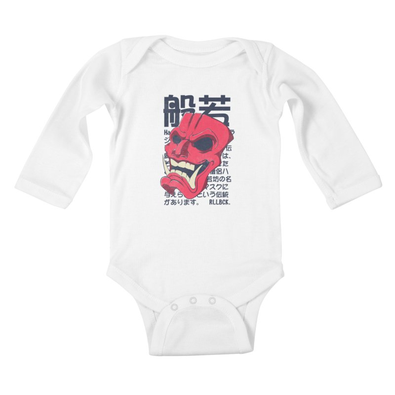 Hannya Mask Kids Baby Longsleeve Bodysuit by RLLBCK Clothing Co.