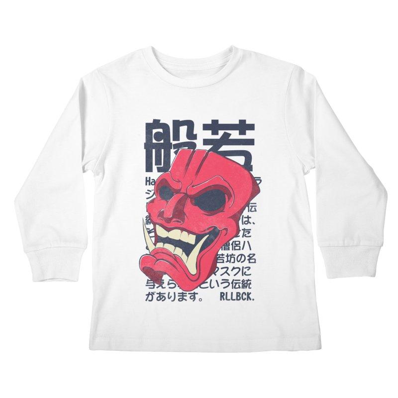 Hannya Mask Kids Longsleeve T-Shirt by RLLBCK Clothing Co.