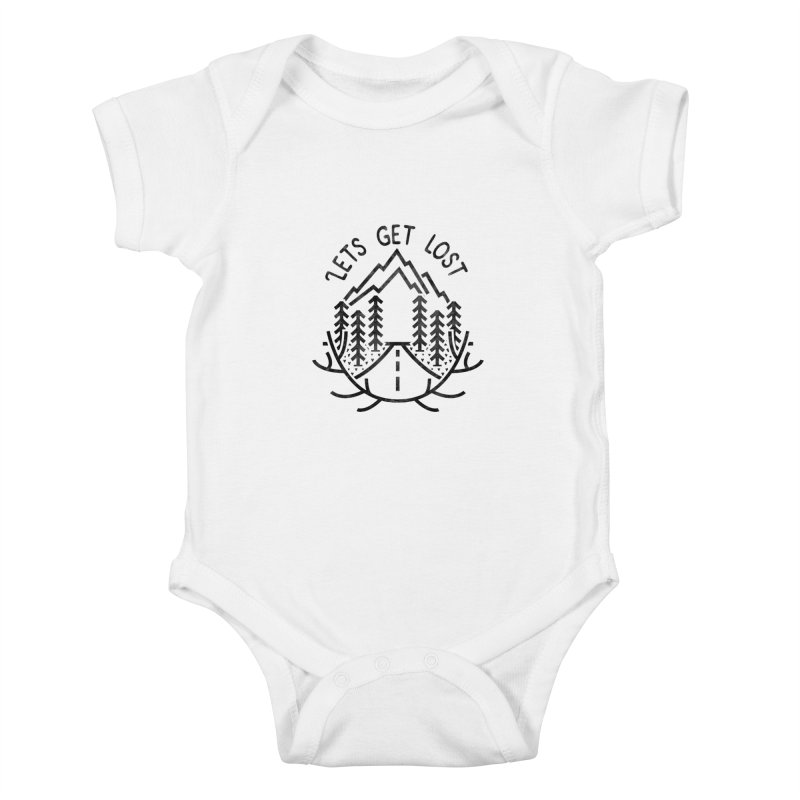 Lets get Lost Kids Baby Bodysuit by RLLBCK Clothing Co.