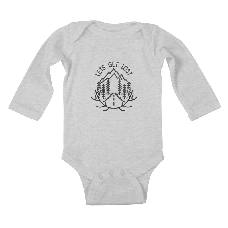 Lets get Lost Kids Baby Longsleeve Bodysuit by RLLBCK Clothing Co.