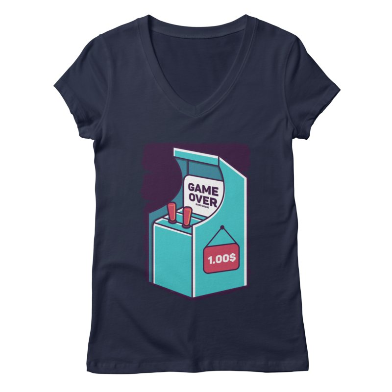 Game Machine Women's Regular V-Neck by RLLBCK Clothing Co.