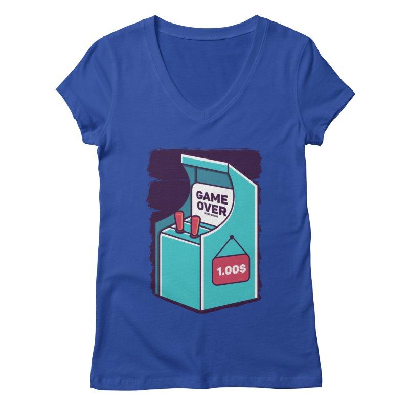 Game Machine Women's Regular V-Neck by RLLBCK Clothing Co.