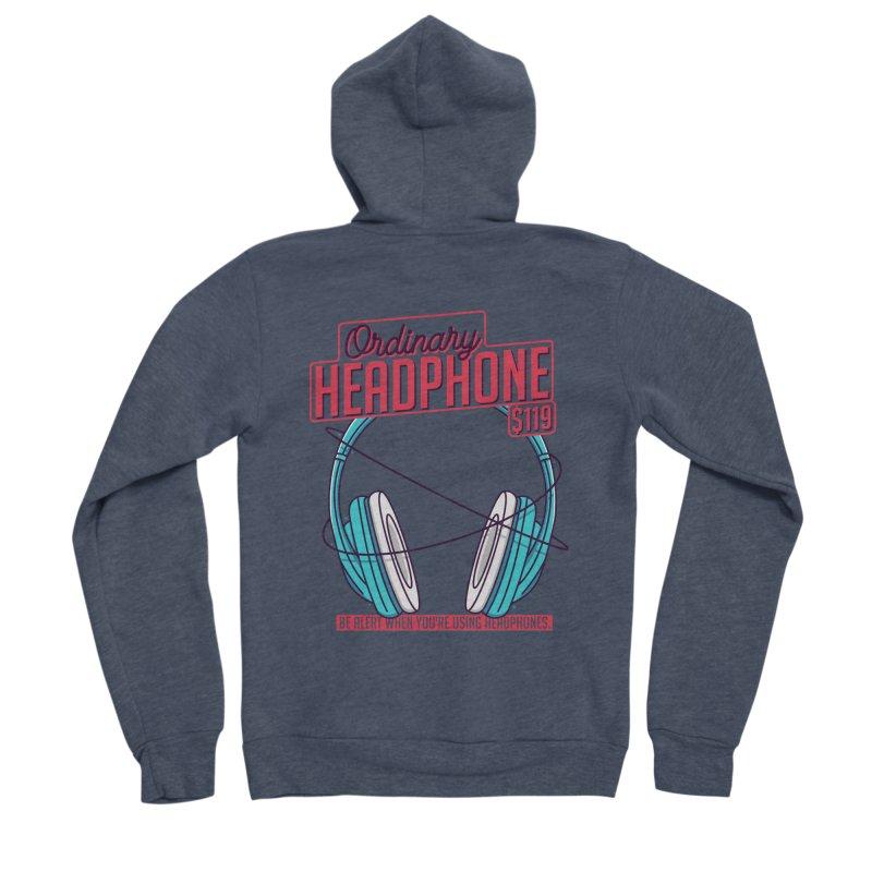 Ordinary Headphone Men's Sponge Fleece Zip-Up Hoody by RLLBCK Clothing Co.