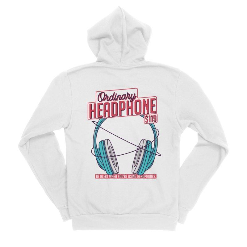 Ordinary Headphone Women's Sponge Fleece Zip-Up Hoody by RLLBCK Clothing Co.