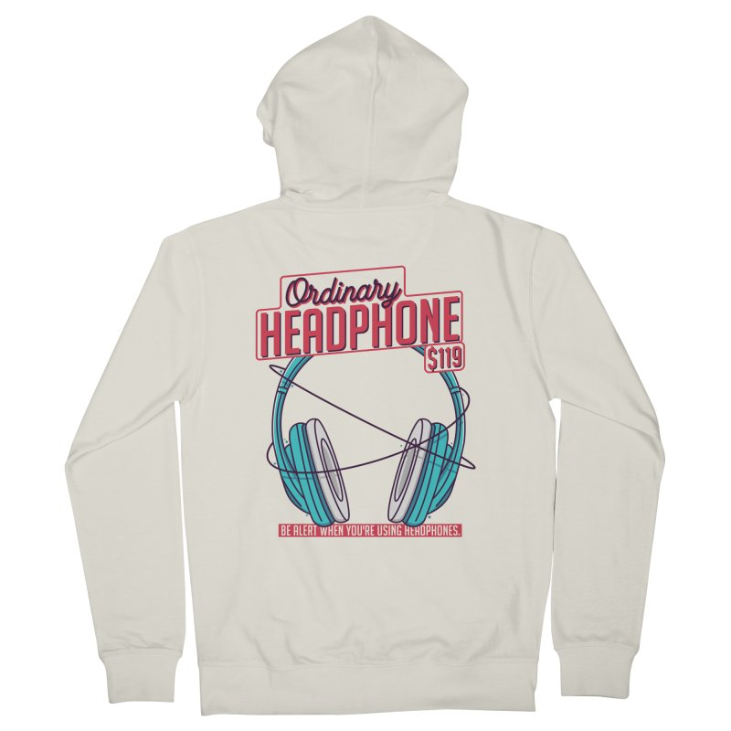 Ordinary Headphone Women's French Terry Zip-Up Hoody by RLLBCK Clothing Co.