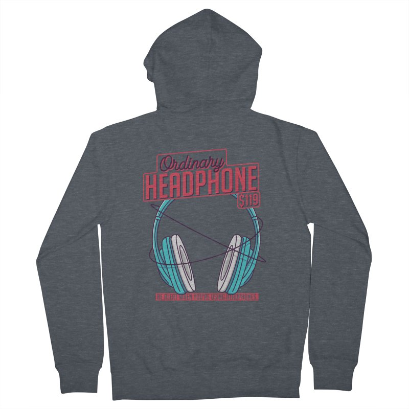 Ordinary Headphone Men's French Terry Zip-Up Hoody by RLLBCK Clothing Co.
