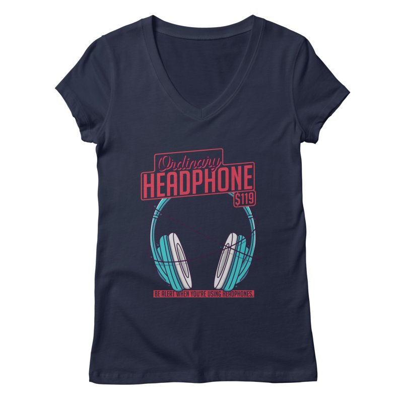 Ordinary Headphone Women's Regular V-Neck by RLLBCK Clothing Co.