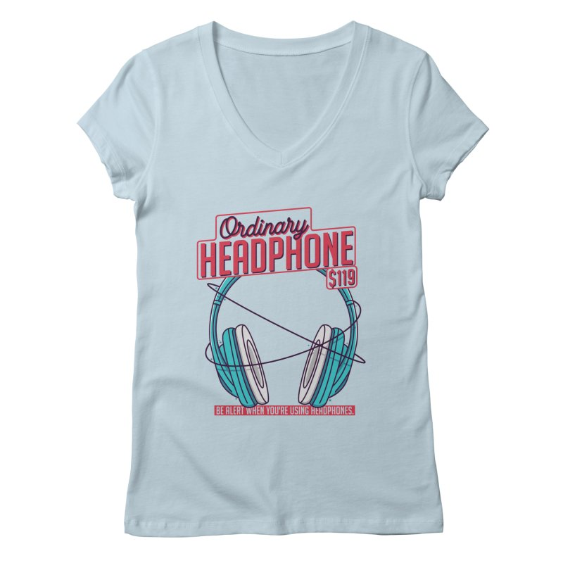 Ordinary Headphone Women's Regular V-Neck by RLLBCK Clothing Co.