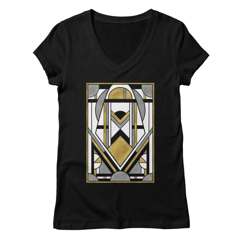 Up & Away - Art Deco Spaceman Women's V-Neck by RML Studios: The Art & Design of Ryan Livingston