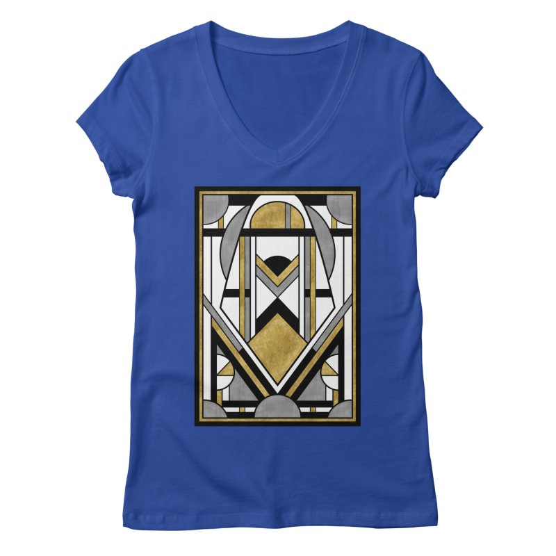 Up & Away - Art Deco Spaceman Women's V-Neck by RML Studios: The Art & Design of Ryan Livingston