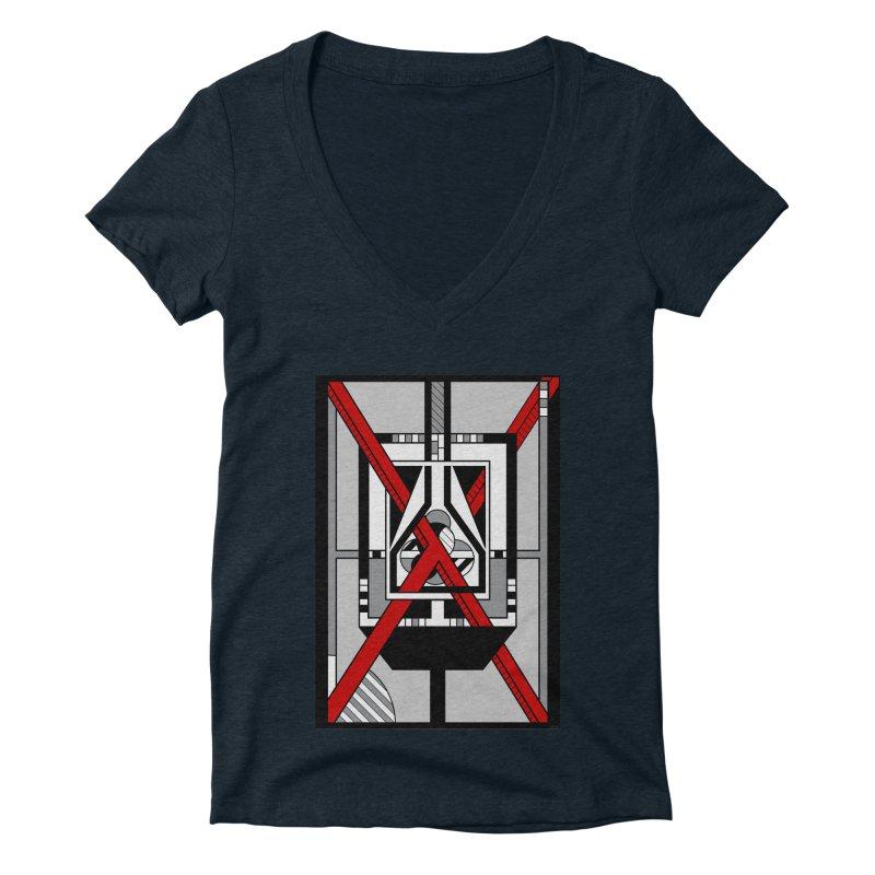 Red X - Geometric Op Art Design Women's V-Neck by RML Studios: The Art & Design of Ryan Livingston