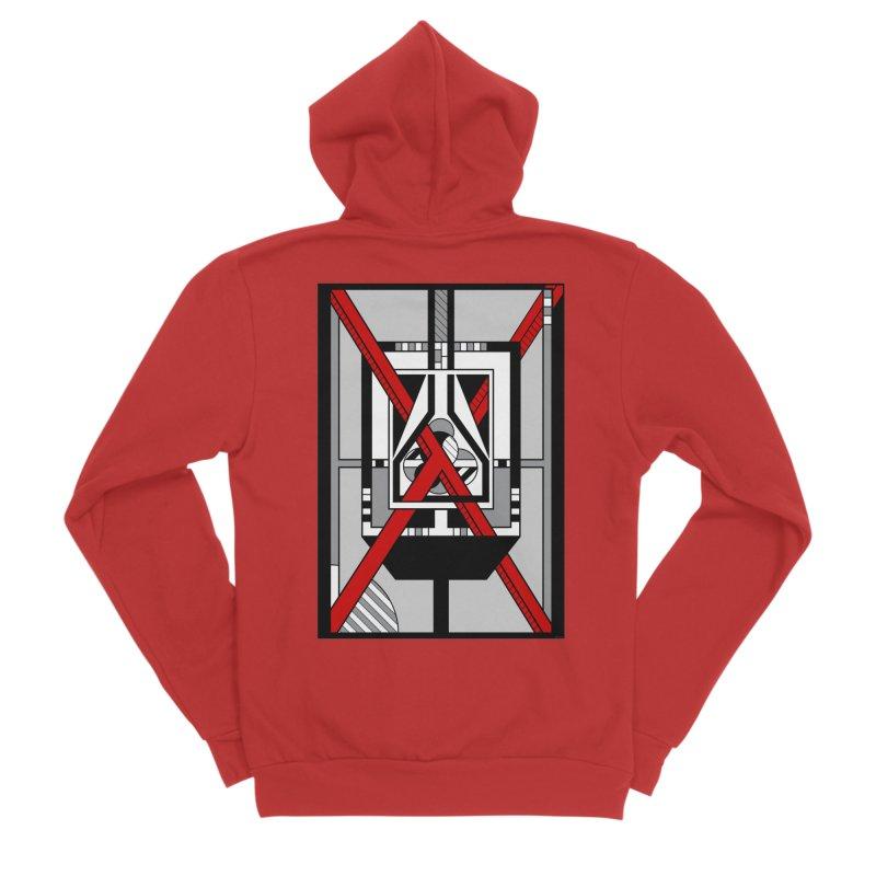 Red X - Geometric Op Art Design Women's Zip-Up Hoody by RML Studios: The Art & Design of Ryan Livingston