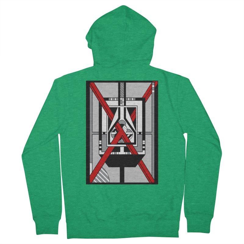 Red X - Geometric Op Art Design Men's Zip-Up Hoody by RML Studios: The Art & Design of Ryan Livingston