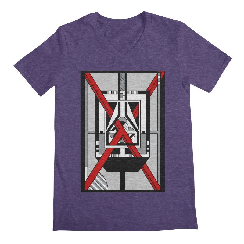 Red X - Geometric Op Art Design Men's V-Neck by RML Studios: The Art & Design of Ryan Livingston