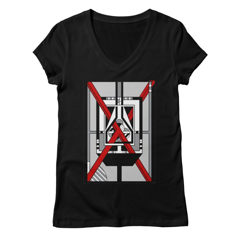 Red X - Geometric Op Art Design Women's V-Neck by RML Studios: The Art & Design of Ryan Livingston