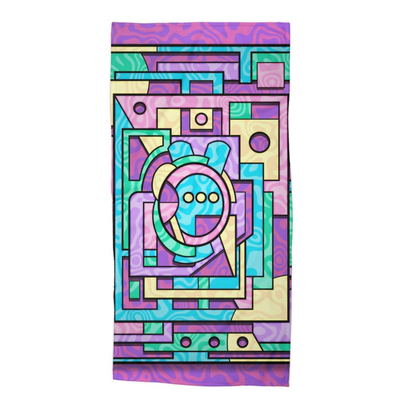Rabbot Hutch - Brightly Colored Geometric Abstract Art Accessories Beach Towel by RML Studios: The Art & Design of Ryan Livingston