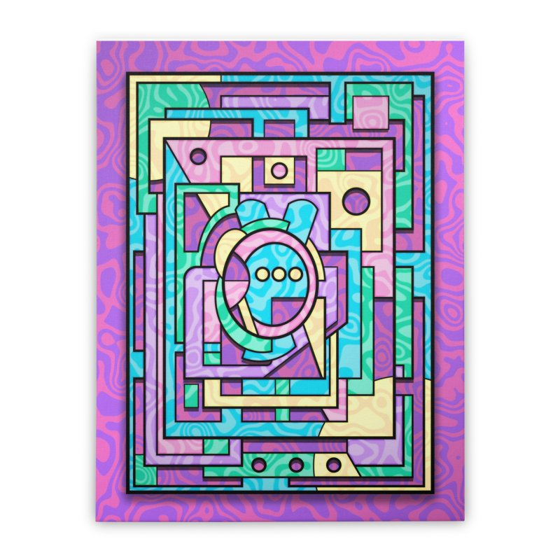Rabbot Hutch - Brightly Colored Geometric Abstract Art Home Stretched Canvas by RML Studios: The Art & Design of Ryan Livingston