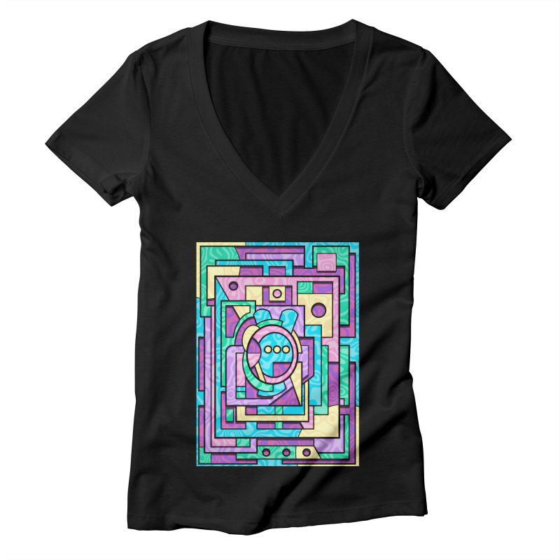 Rabbot Hutch - Brightly Colored Geometric Abstract Art Women's V-Neck by RML Studios: The Art & Design of Ryan Livingston