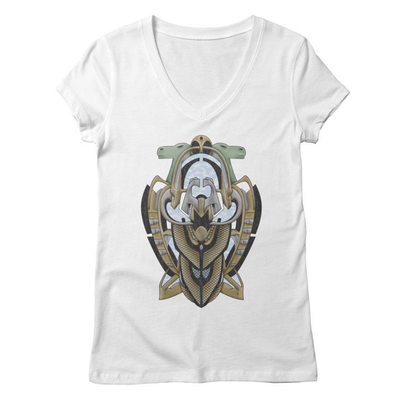Claddagh Hawk - Celtic Inspired Art Deco Women's V-Neck by RML Studios: The Art & Design of Ryan Livingston